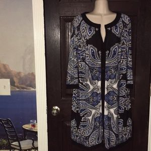 Inc Black White & Blue Modal no iron Dress 0X XL